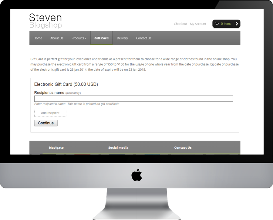 Steven Blogshop Gift Card